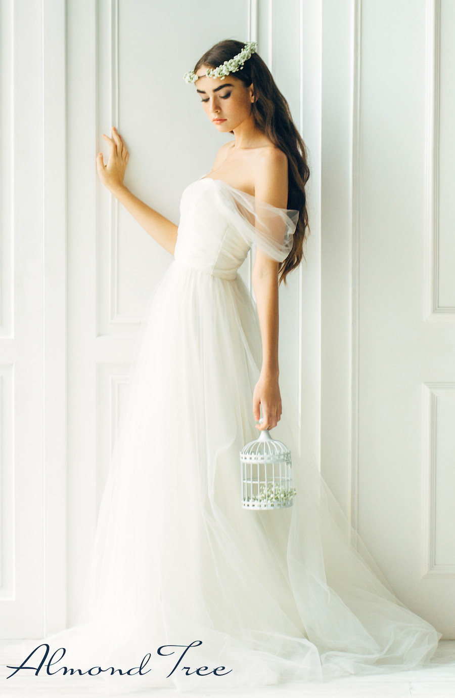 Boho Chic Bride in Glamourous White Bridal Wedding Gown from Almond Tree Wedding Boutique in Phoenix Arizona