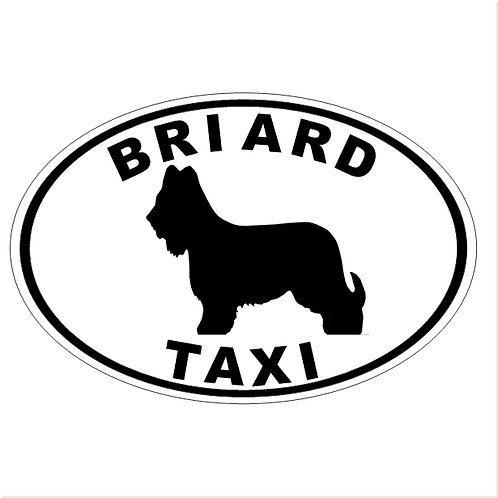 """Briard Taxi"" European-style auto decal (free shipping!)"