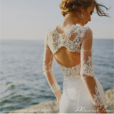 Ocean Beach Wedding Bride in Lace and White
