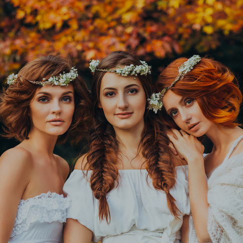 Three Sexy Model Brides in Designer Gowns in Autimn / Fall