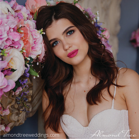 Pretty Face Bride in Perfect Dream Dress with Flowers