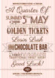 Machynlleth Comedy Festival Sweet Shop Gig Poster Design - A Quarter Of - Golden Tickets - Losin Lush - Henry Widdicombe - Emma Butler - Mach 2013