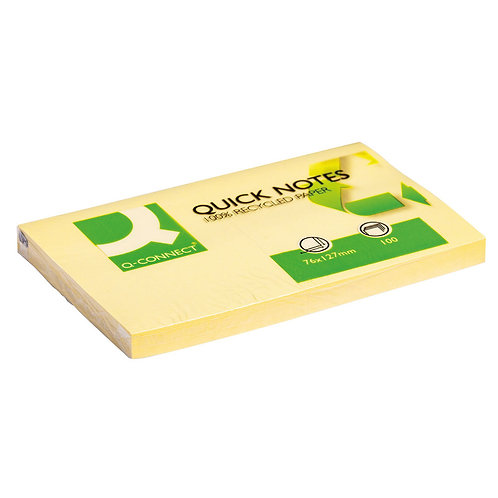 Recycled Repositionable Notes 76 x 127mm Yellow (Pack of 12)