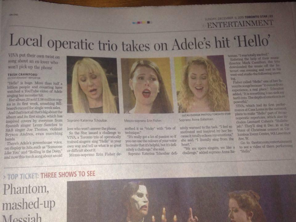ViVA in the Toronto Star