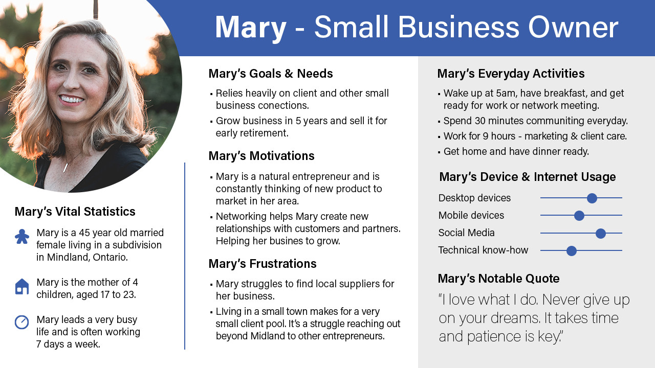 User Persona - Mary - Small Business Own