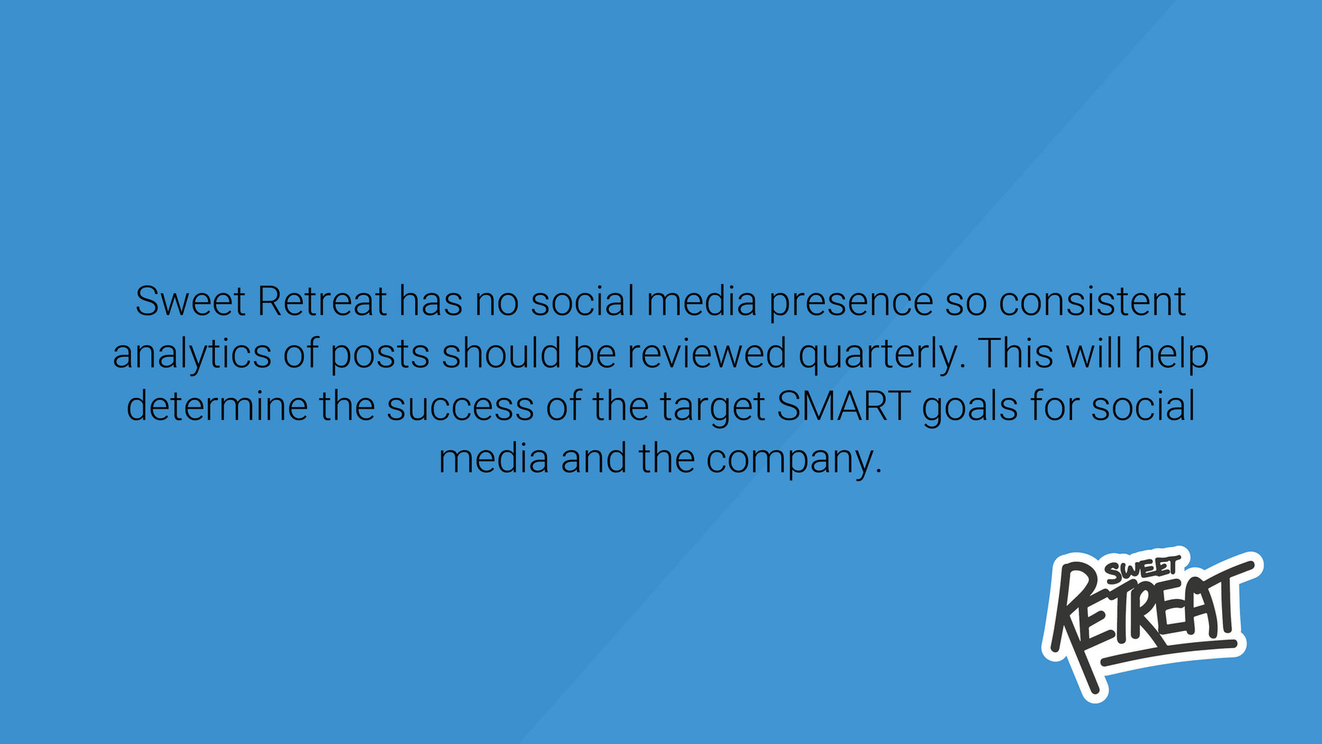 Sweet Retreat has no Social Media Presence