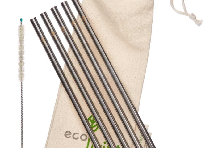 Stainless steel smoothie straws with cleaning brush and pouch