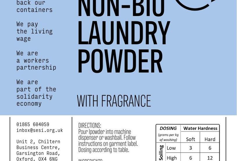 Non-bio laundry powder with fragrance