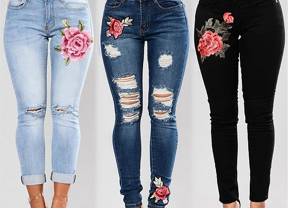 Stretch Embroidered Flower Jeans for Women
