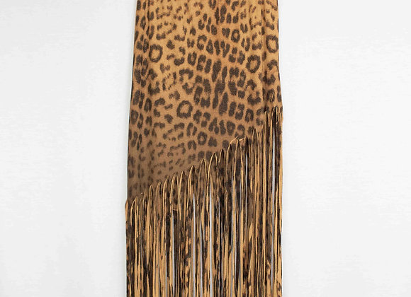 Animal Print Skirt With Fringe