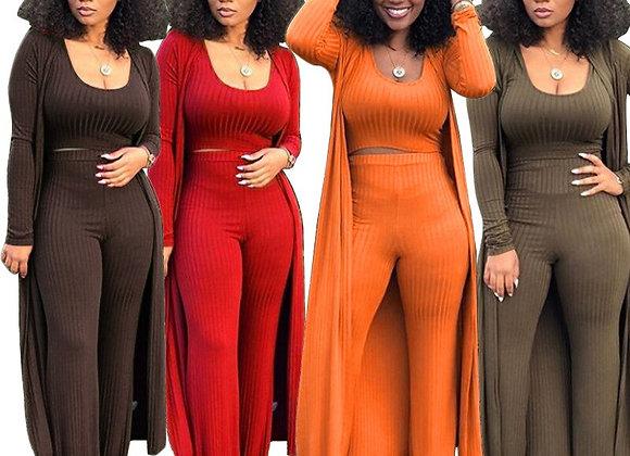 Women Casual Pants Suits Crop Top Tank