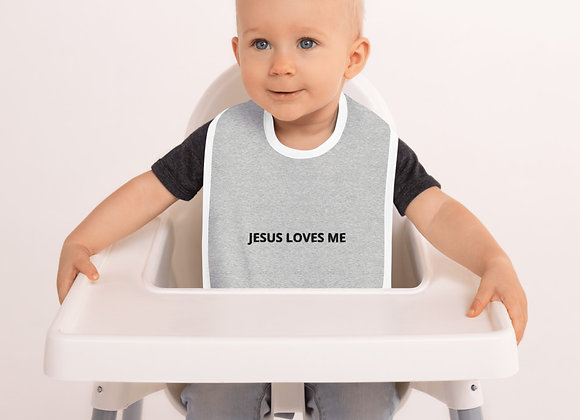 Embroidered Baby Bib (JESUS LOVES ME)