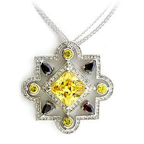 Necklace - 925 Sterling Silver, Rhodium, AAA Grade CZ, Multi Color.