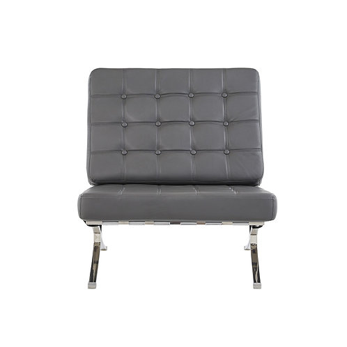Dark Grey Chair with Wide Spacious Seat and Button Tufted Details