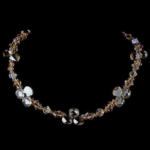Swarovski Crystal Necklace N 8211 Silver Light Brown