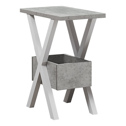 Rectangular White Grey Cement Look Accent Table