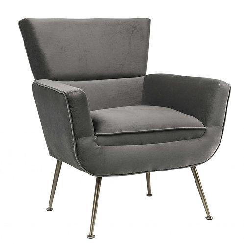 """29"""" X 32"""" X 36"""" Gray Velvet Upholstery Metal Leg Accent Chair"""