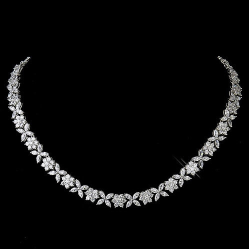 Antique Silver Rhodium Clear Floral CZ Stone Necklace 8104.