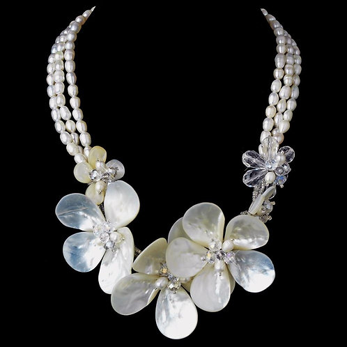 Silver Freshwater Pearl Shell & Swarovski Crystal Bead Necklace 8196