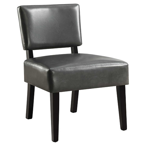 """27.5"""" x 22.75"""" x 31.5"""" Charcoal Leather-Look Foam Accent Chair with Solid Wood F"""