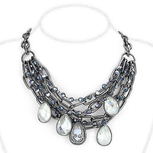 Necklace - Brass, TIN Cobalt Black, AAA Grade CZ, Clear, Pear