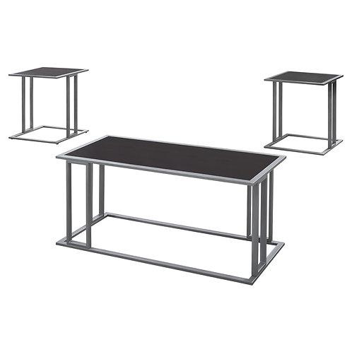 Cappuccino Silver Metal Table Set - 3Pcs Set