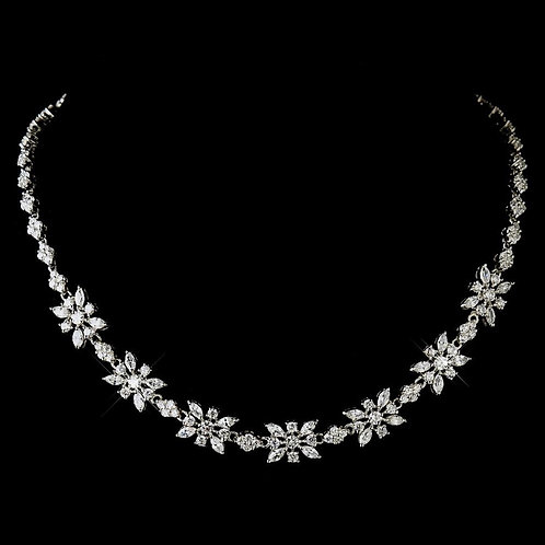 Sparkling and Charming Plated Silver Clear CZ Necklace2626