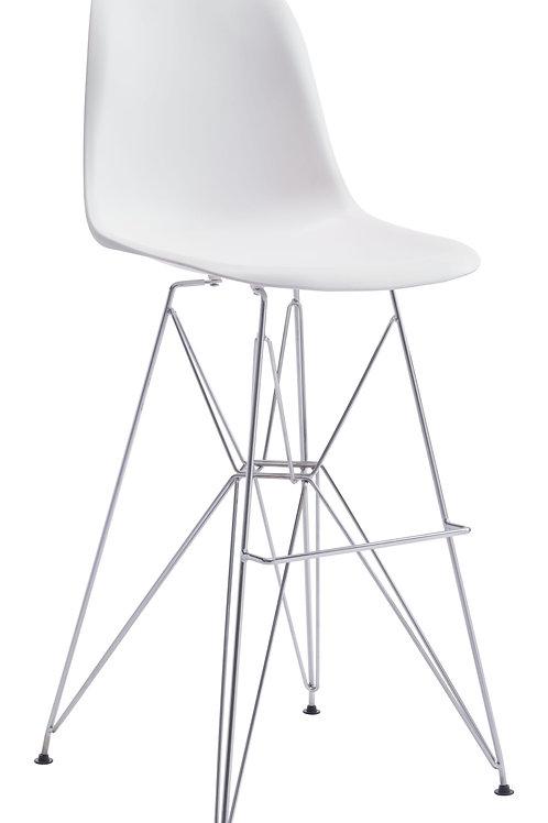 "19"" x 20.3"" x 44"" White  Polypropylene  Chromed Steel  Bar Chair"