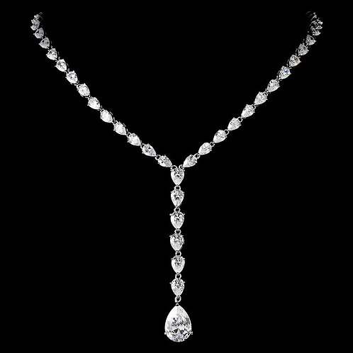 Beautiful and Sparkling Dewdrop Crystal Clear CZ Necklace N 2534