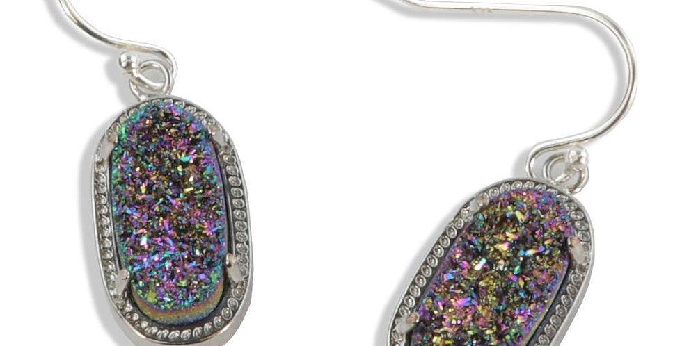 Alicia Oval Druzy Earrings in Silver
