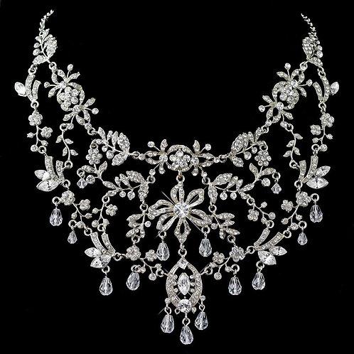 Rhodium Clear Rhinestone & Swarovski Crystal Bead Necklace/Face Headpiece 3367
