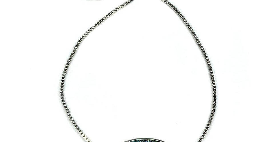 Ariana Large Druzy Bracelet in Silver