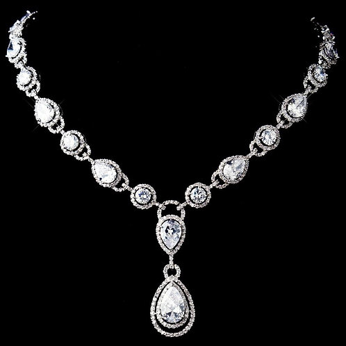 Stunning Antique Silver Clear CZ Crystal Necklace 8974.
