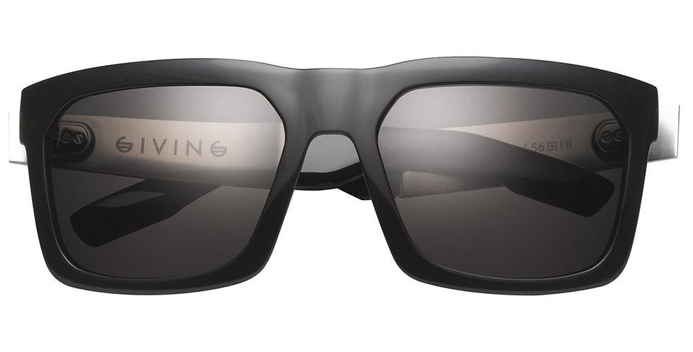 Giving: Polished Black - Brushed Aluminum / Grey Polarized Lens