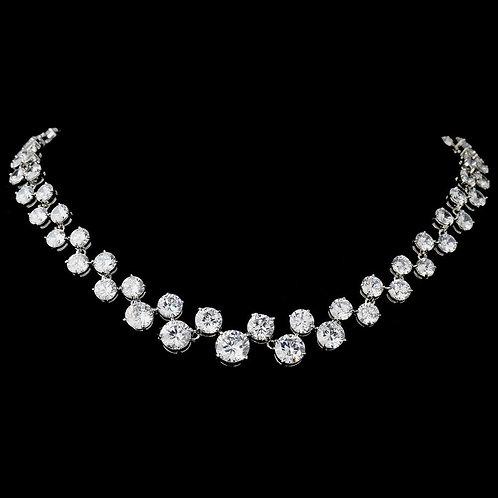 Silver Cubic Zirconia Necklace 2543