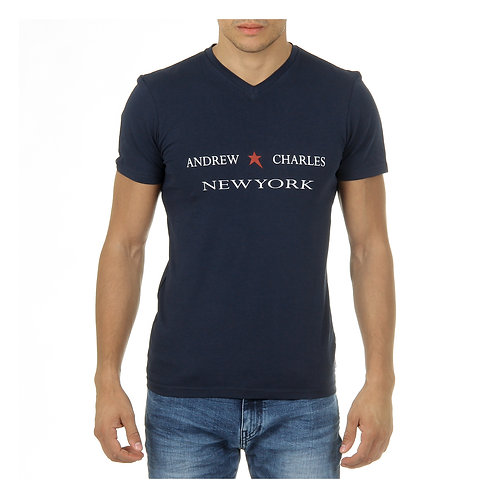 Andrew Charles Mens T-Shirt Short Sleeves V-Neck Blue KENAN