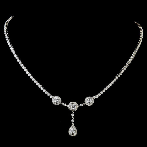 Sophisticated Teardrop Silver Clear CZ Necklace N 8103