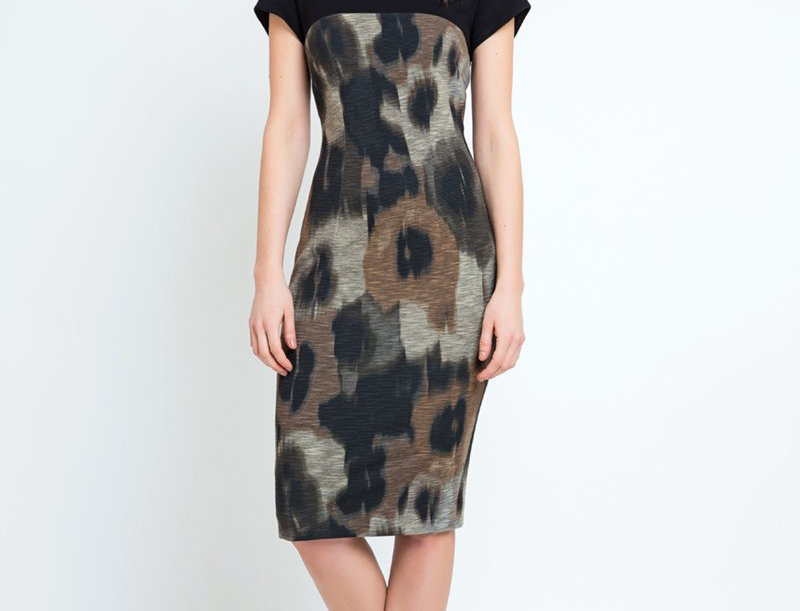 Abstract Print Straight Dress