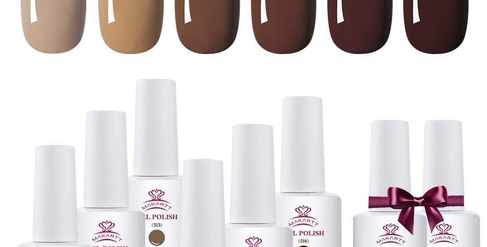 6 Color Classic Brown Gel Polish Set with Base and Top Coat
