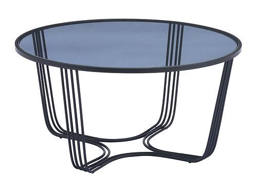 "29.5"" x 29.5"" x 15"" Black, Glass, Steel, Coffee Table"