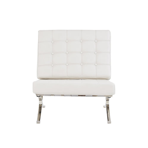 White Chair with Wide Spacious Seat and Button Tufted Details