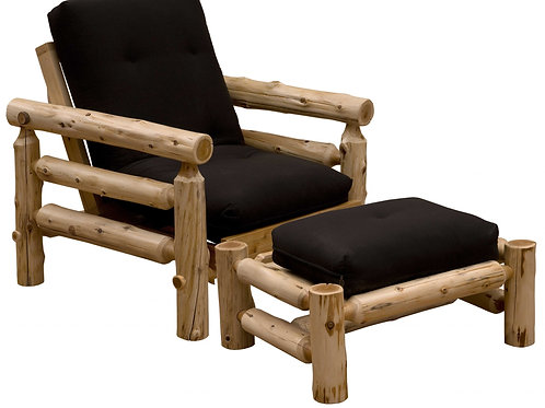 Authentic Log Cabin Natural Cedar Futon Chair and Ottoman Set