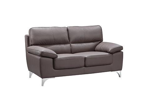 """37"""" Classy Brown Leather Loveseat"""