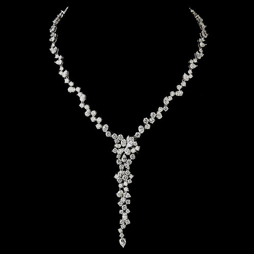 Antique Silver Clear CZ Crystal Bridal Necklace 8654.