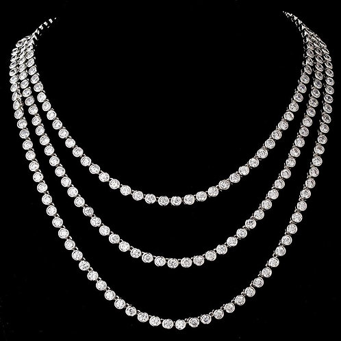 Stunning Antique Silver Clear CZ Three Strands Necklace N 5066.
