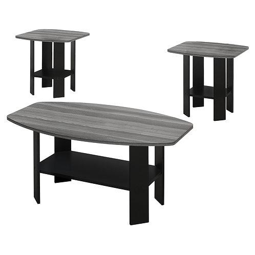 Black Grey Top Table Set - 3Pcs Set