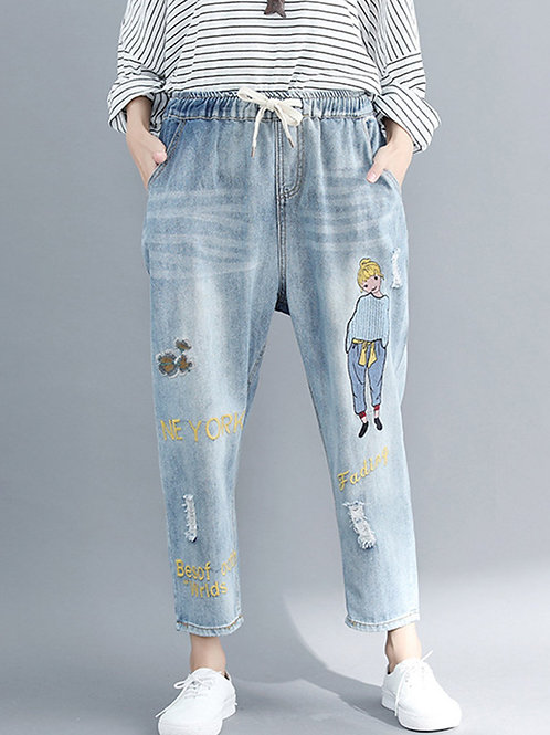 Embroidery Print Denim Pants