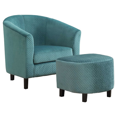 """45'.5"""" x 49"""" x 45'.5"""" Turquoise, Foam, Solid Wood, Polyester - 2pcs Accent Chair"""