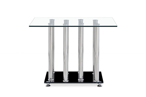 Black and Silver Modern End Table with Tempered Glass Top