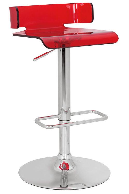 Red Chrome Swivel Adjustable Bar Stool